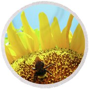 Yellow Sunflower Art Prints Bumble Bee Baslee Troutman Round Beach Towel