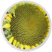 Yellow Sunflower Round Beach Towel