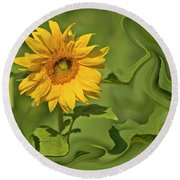 Yellow Sunflower On Green Background Round Beach Towel