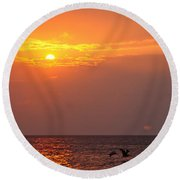 Yellow Sunrise And Three Birds Round Beach Towel