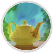 Yellow Teapot And Bowl Round Beach Towel