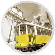 yellow tram Lisbon Round Beach Towel