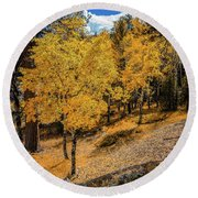 Yellow Trees Round Beach Towel