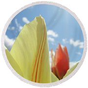 Yellow Tulip Flower Art Prints Spring Blue Sky Clouds Baslee Troutman Round Beach Towel