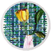Yellow Tulip In A Pink Vase Round Beach Towel