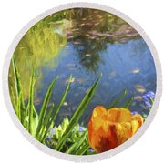 Yellow Tulip In Giverny  Round Beach Towel