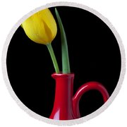 Yellow Tulip In Red Pitcher Round Beach Towel