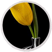 Yellow Tulip In Striped Vase Round Beach Towel