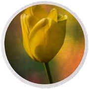 Yellow Tulip Textures Of Spring Round Beach Towel