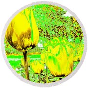 Yellow Tulips Abstract Round Beach Towel