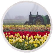 Yellow Tulips And Tractors Round Beach Towel