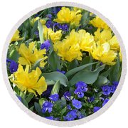 Yellow Tulips And Violets Round Beach Towel