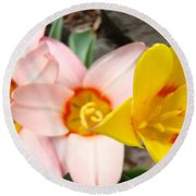 Yellow Tulips Art Prints Pink Tulips Spring Florals Baslee Troutman Round Beach Towel