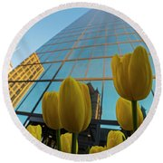 Yellow Tulips Looking Up At The Hancock Boston Ma Round Beach Towel