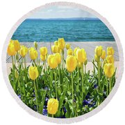 Yellow Tulips Near Lake Round Beach Towel
