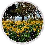 Yellow Tulips Of Fairhope Alabama Round Beach Towel