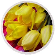 Yellow Tulips With Dew Drops Round Beach Towel