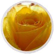 Yellow Valentine Roses - 4 Round Beach Towel