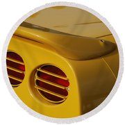Yellow Vette Lights Round Beach Towel