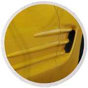 Yellow Vette Round Beach Towel