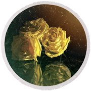 Yellow Vintage Roses  Round Beach Towel