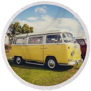 Yellow Vw T2 Camper Van 02 Round Beach Towel