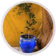 Yellow Wall, Blue Pot Round Beach Towel