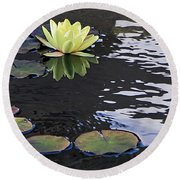 Yellow Water Lily Round Beach Towel