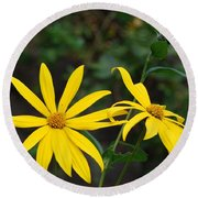 Yellow Wild Flower Round Beach Towel