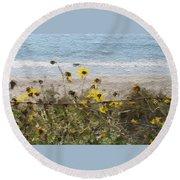 Yellow Wildflowers- Art By Linda Woods Round Beach Towel