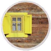 Yellow Window On Wooden Hut Wall Round Beach Towel
