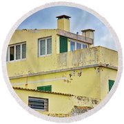 Yellow Worn Out Concrete House Round Beach Towel