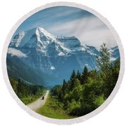 Yellowhead Highway In Mt. Robson Provincial Park, Canada Round Beach Towel