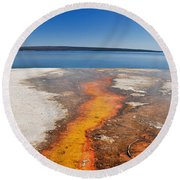 Yellowstone Lake And West Thumb Geyser Flow Round Beach Towel