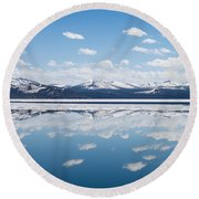 Yellowstone Lake Reflection Round Beach Towel