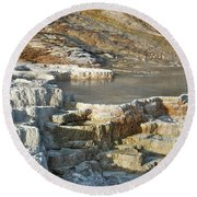 Yellowstone Mineral Features 3 Round Beach Towel