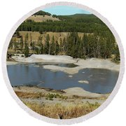 Yellowstone Mineral Ponds Round Beach Towel