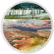 Yellowstone Park Firehole Spring Area Vertical 02 Round Beach Towel
