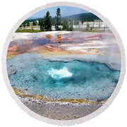 Yellowstone Park Firehole Spring In August 02 Round Beach Towel