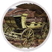 Yellowstone Park Stage Coach With Horses Pa 01 Round Beach Towel