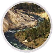 Yellowstone River Canyon Round Beach Towel