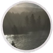 Yellowstone River Fog Round Beach Towel by Sandra Bronstein