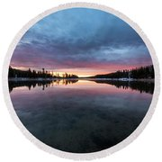 Yellowstone River Sunrise Colors Round Beach Towel