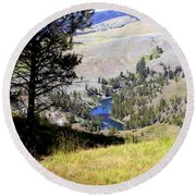 Yellowstone River Vista Round Beach Towel