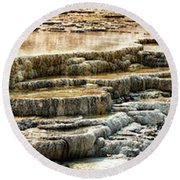 Yellowstone Rock Formation Round Beach Towel