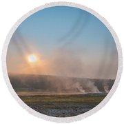 Yellowstone Sunrise  Round Beach Towel