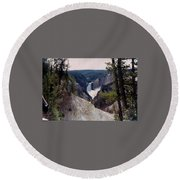 Yellowstone Water Fall Round Beach Towel