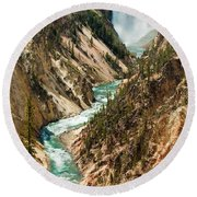 Yellowstone Waterfalls Round Beach Towel