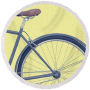 Yelow Bike Round Beach Towel