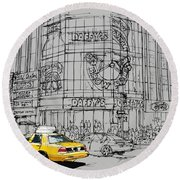 Yelow Cab On New York Streets Round Beach Towel